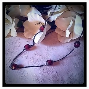 Vintage Faceted Cranberry Bead Station Necklace